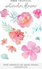 free tropical watercolor flower clip by watercolor flowers