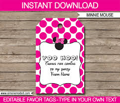 minnie mouse thank you cards minnie mouse party favor tags thank you tags birthday party
