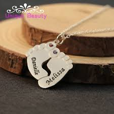 Necklace With Name Online Shop Wholesale 925 Sterling Silver Baby Feet Necklace With