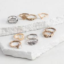 midi rings set gold and silver midi rings set of 10 world market