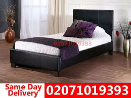 brand new single leather bed with mattress edison in colliers