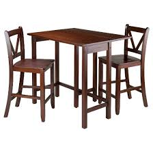 High Counter Table 3 Piece Lynnwood Set Drop Leaf High Table With V Back Counter