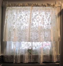 Pattern Drapes Curtains Vintage Beige White Color Kitchen Bathroom Small Room Lace