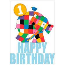 1st birthday elmer elephant happy 1st birthday card jojo maman bebe