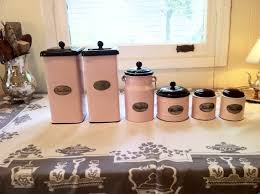 pink canisters kitchen vintage pink enamelware kitchen canisters by whitneyandco on etsy