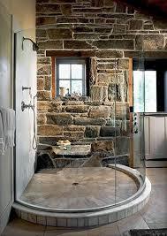 modern stone bathroom black stone pebble floor ornament stone wall