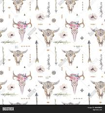 Tribal Print Wallpaper by Watercolor Boho Seamless Pattern With Teepee Arrows Feathers Cow