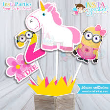 minions centerpieces minions centerpieces minion girl birthday party centerpiece pink