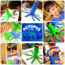 practical mom toddler crafts making octopus with toilet paper