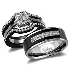 black wedding sets his and hers wedding ring sets couples matching rings
