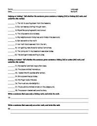 action and linking verbs worksheet free worksheets library