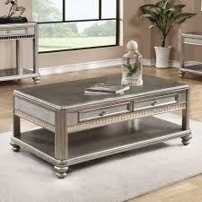 coaster furniture wood coffee table metallic platinum hayneedle