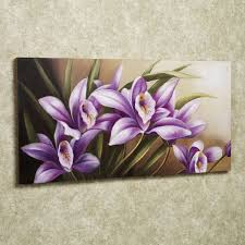 beautiful flower painting on simple square frame with cute purple
