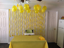 Party City Table Cloths Sunshine Party Cake Table Decor Yellow Streamers Yellow Duck