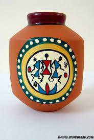 Handicraft Home Decor Items Vase Pottery Terracotta Home Decor Indian Handicraft Brush