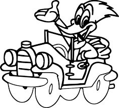 woody woodpecker drive a car coloring page wecoloringpage
