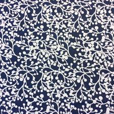 Outdoor Fabric Floral Dark Blue White Retro Dot Branches Garden Floral Indoor