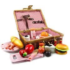 kids picnic basket strawberry rattan basket picnic toys set 1 1 5 wood children play