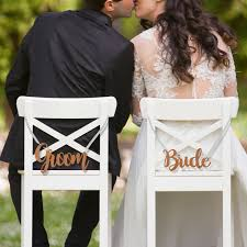 wedding chair signs engraved wooden and groom wedding chair signs personalized