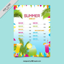 drink menu template free colorful abstract summer drink list template vector free