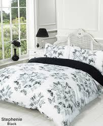 stephanie black white grey butterfly super king duvet quilt cover