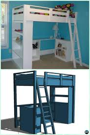Free Loft Bed Plans With Slide by Diy Kids Bunk Bed Free Plans Picture Instructions