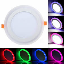 Color Led Light Bulbs 12w Rgb Dual Color Led Recessed Ceiling Round Panel Down Light