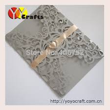 wedding cards pearl paper crafts party decoration silver flower lace unique