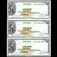 Rare 1970s citicorp travelers check specimen 100