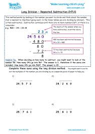100 worksheets division as repeated subtraction division as
