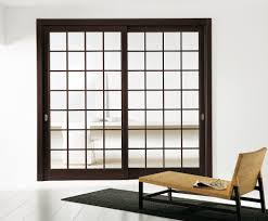 wenge frosted center glass wood modern interior sliding door featuring a transparent glass panel