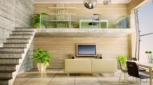 Beige Home Decor Interior Loft Living Room Design Ideas Comination Wood Stone Wall