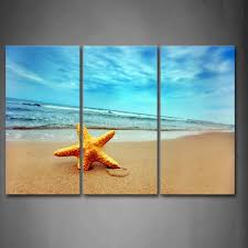 3 piece wall art painting yellow starfish on beach print on canvas