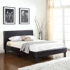 Brown Wood Bed Frame Deluxe Espresso Brown Bonded Leather Platform Bed With
