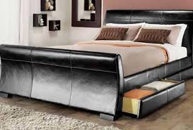 Black Leather Sleigh Bed 4 Drawers Leather Storage Sleigh Bed King Size Luxury Memory