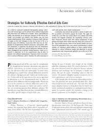 strategies for culturally effective end of life care annals of