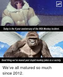 Ikea Monkey Meme - cafe today is the 4 year anniversary of the ikea monkey incident