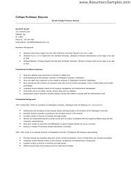 resume example college professor resume sample free entry level
