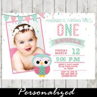 pink and mint green owl birthday party invitations personalized