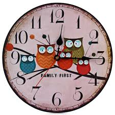 rustic wall clock with cute owls price 20 04 u0026 free shipping