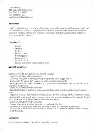 Health Care Resume Sample by Professional Health Unit Coordinator Templates To Showcase Your