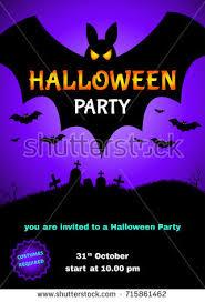 halloween party background castle cemetery bats stock vector