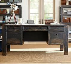 Pottery Barn Mega Desk Dawson Wood Desk Large Weathered Black Finish Desks Kitchens