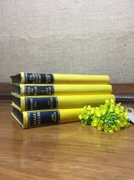 yellow vintage book stack old books decoration interior design