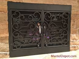 home decor creative wrought iron fireplace doors decorate ideas