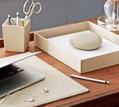 White Leather Desk Blotter Pebble Leather Desk Blotter Pottery Barn