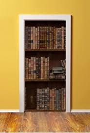 door wall sticker wooden bookshelf with antique books peel