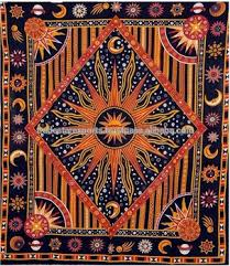 Sun And Moon Bedding Galaxy Tapestry Indian Sun Moon Wall Hanging Cotton Beach Blanket