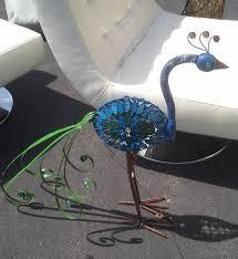 peacock metal home garden sculpture funky yard statue