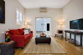 modern living room interior design ideas with red velvet sofa